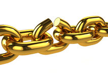 3d Broken gold chain. 3d render of a broken gold chain Stock Photography
