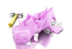 3D Broken piggy bank with hammer and coins. Royalty Free Stock Photography