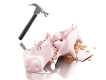 3D Broken piggy bank with hammer and coins. 3D Illustration. Broken piggy bank with hammer and coins. Isolated white background Royalty Free Stock Photo
