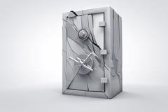 3d broken safe box render. 3D broken closed security box render for cash or money Royalty Free Stock Image