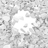 3d broken wall. 3d image of broken white wall Royalty Free Stock Photo