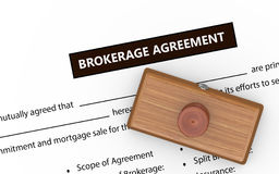 3d brokerage agreement rubber stamp Royalty Free Stock Photo