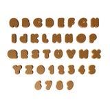 3D brons/gouden brieven/alfabet/aantallen Stock Afbeelding