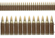 3d brown ammunition belt. Brown ammunition belt isolated on white background in two sizes Stock Photo