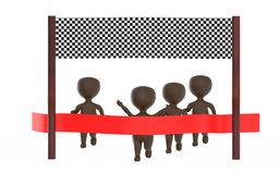 3d brown character is about to cross the finish line precceding many other character,s. 3d rendering Royalty Free Stock Images