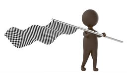 3d brown character waving a checker flag. 3d rendering Stock Photo