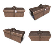 3D brown rectangular gift box set. 3D Icon Design Series. Royalty Free Stock Photos