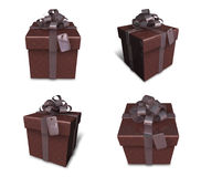 3D brown rectangular gift box set. 3D Icon Design Series. Stock Images