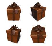 3D brown rectangular gift box set. 3D Icon Design Series. Stock Image