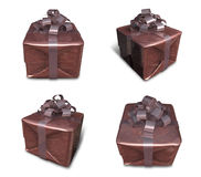 3D Brown wrapped gift box set. 3D Icon Design Series. Stock Photo