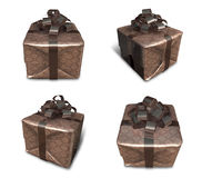 3D Brown wrapped gift box set. 3D Icon Design Series. Royalty Free Stock Photography