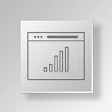 3D Browser Analytics icon Business Concept. 3D Symbol Gray Square Browser Analytics icon Business Concept Royalty Free Stock Photos