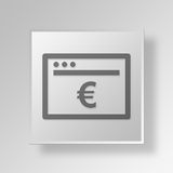 3D Browser Euro icon Business Concept. 3D Symbol Gray Square Browser Euro icon Business Concept Royalty Free Stock Photos