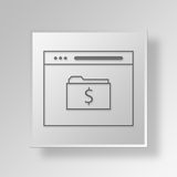 3D Browser Folder icon Business Concept. 3D Symbol Gray Square Browser Folder icon Business Concept Stock Image