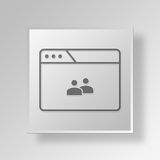 3D browser group icon Business Concept. 3D Symbol Gray Square browser group icon Business Concept Stock Photography