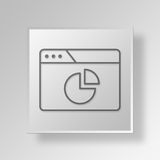 3D browser pie chart icon Business Concept. 3D Symbol Gray Square browser pie chart icon Business Concept Royalty Free Stock Photo
