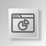 3D browser pie chart icon Business Concept. 3D Symbol Gray Square browser pie chart icon Business Concept Stock Photography