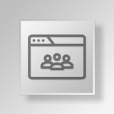 3D browser teleconference icon Business Concept. 3D Symbol Gray Square browser teleconference icon Business Concept Stock Photography