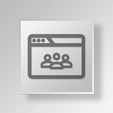 3D browser teleconference icon Business Concept. 3D Symbol Gray Square browser teleconference icon Business Concept Royalty Free Stock Image
