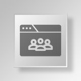 3D browser teleconference icon Business Concept. 3D Symbol Gray Square browser teleconference icon Business Concept Stock Images