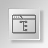 3D browser work flow icon Business Concept. 3D Symbol Gray Square browser work flow icon Business Concept Stock Photography