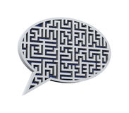 3d bubble speech labyrinth maze. 3d illustration of bubble speech icon symbol puzzle maze labyrinth Stock Photo