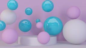 Spheres background. Abstract wallpaper. Flying geometric shapes. Trendy modern illustration. 3d rendering. 3d bubbles. Spheres background. Abstract wallpaper stock illustration
