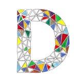 D-Buchstabe im Aquarell deckte Mosaik im geometrischen Stil mit Ziegeln Stockfotografie