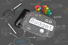 3d Budget concept. Budget concept on a gray background, with a translucent screen tablet, pen, magnifying glass, paintings by hand Stock Photos