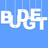 3d Budget paper cut word. Hanging with strings Royalty Free Stock Photo