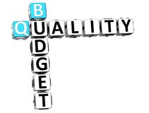 3D Budget Quality text Crossword. Over white background Stock Photography