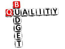 3D Budget Quality text Crossword. Over white background Stock Images