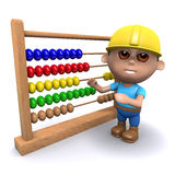 3d Builder with an abacus. 3d render of a builder using an abacus Royalty Free Stock Image