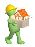 3d builder bearing a box with house in hands Royalty Free Stock Photography
