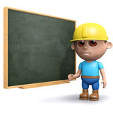3d Builder is at the blackboard. 3d render of a builder stood at a blackboard Stock Images