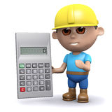 3d Builder with a calculator. 3d render of a builder with a calculator Royalty Free Stock Photo
