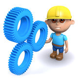 3d Builder checks the cogs. 3d render of a builder with some blue plastic cogs Royalty Free Stock Images
