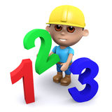 3d Builder does the math. 3d render of a builder with numbers 1, 2 and 3 Royalty Free Stock Photo
