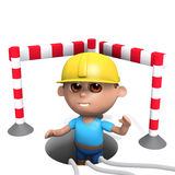 3d Builder down a hole. 3d render of a builder down a hole Royalty Free Stock Photography