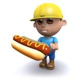 3d Builder eats a tasty hotdog. 3d render of a builder holding a hot dog Stock Images