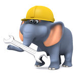 3d Builder elephant with a spanner. 3d render of an elephant with a spanner and hard hat Royalty Free Stock Image