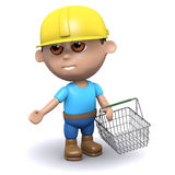 3d Builder goes shopping. 3d render of a builder carrying a shopping basket Royalty Free Stock Photography