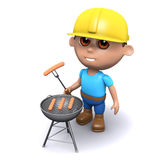 3d Builder has a barbecue. 3d render of a builder cooking on a barbeque Royalty Free Stock Images