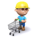 3d Builder has an empty shopping trolley Royalty Free Stock Photography