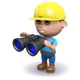 3d Builder has got some binoculars. 3d render of a builder holding a pair of binoculars Stock Photography