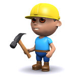 3d Builder has a hammer. 3d render of a builder with a hammer Stock Photo
