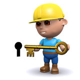 3d Builder has the key. 3d render of a builder holding a gold key next to a keyhole Royalty Free Stock Photos