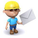 3d Builder has mail. 3d render of a builder holding an envelope Stock Photo