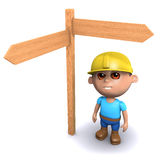3d Builder has to make a decision. 3d render of a builder standing by a blank roadsign Stock Photo