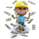 3d Builder hits the jackpot. 3d render of a builder surrounded by falling US Dollar bills Stock Photo